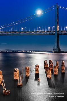 Moonlight over Bay Bridge San Francisco (by David Yu on Flickr)