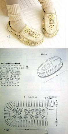 slippers-but if you add leather to the bottom-shoes. I like the shape, but will choose different colours. Crochet Woman, Love Crochet, Crochet Baby, Knit Crochet, Crochet Chart, Crochet Stitches, Crochet Patterns, Crochet Boots, Crochet Clothes