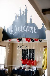 "Disney Castle ""Welcome"" Arch from a DIY Modern Throwback Mickey Mouse Birthday P… – Birthday Mickey Mouse Backdrop, Mickey Mouse Party Decorations, 50th Birthday Party Decorations, Birthday Parties, Birthday Diy, Diy Disney Decorations, Themed Parties, Cake Decorations, Birthday Ideas"