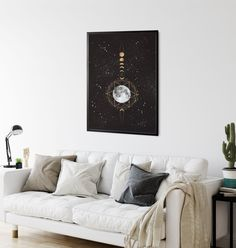 Golden Moon Art Print, Phases of the Moon, Moon Wall Art by InfiniteMantra. Moon Phases Poster, Lunar phases, Moon Phase Pictures, Moon Poster, Boho Moon Art. A one of a kind piece of art that will bring color and life to bedroom, living room, home office, any room. My art is inspired by dreams, taking you to a magical realm where anything is possible. #originalart #homedecor #homedecorideas Contemporary Art Prints, Fine Art Prints, Moon Phases Pictures, Lunar Phase, Moon Moon, Yoga Art, Art Pieces, Original Art, Dreams