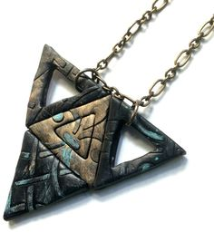 Black Triforce Geometric Jewelry  Black Gothic by Unparalleledcc