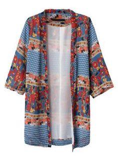 Multicolored Floral Print Half Sleeve Kimono Coat
