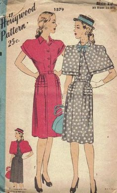 Hollywood Sewing Pattern 1940s Dress and by AdeleBeeAnnPatterns, $40.00