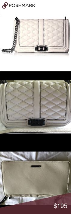 """NWT Rebecca Minkoff Love Crossbody putty $295 Wear it crossbody or removed the chain strap to use it as a clutch 10""""W x 6""""H x 3.5""""D 22"""" adjustable detachable shoulder strap drop Genuine quilted leather Custom black hardware Flap closure with turn lock One exterior snap pocket One interior zipper pocket Exclusive herringbone print lining matching dust bag  Genuine leather  Retail $295 Current style from 2016 Color: putty Rebecca Minkoff Bags Crossbody Bags"""