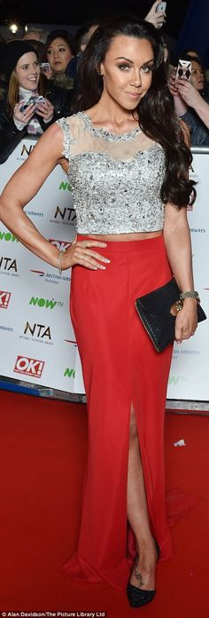 Michelle Heaton wore an embellished crop top and a scarlet skirt. Georgie Porter, Michelle Heaton, Embellished Crop Top, Emma Willis, Hollywood Red Carpet, The Brunette, Michelle Keegan, Fashion Fail, Red Carpet Event