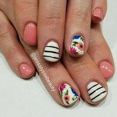 Manicure Monday perfection by our nail tech Jessica @jessalyssebeauty -  Floral and stripes. #nailart #handpainted #freshnails #utahcountynails #oremsalon #nailtech @seasonssalonanddayspa - #manicuremonday #manicure