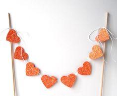 "Cake Bunting, 12"" of Glittery Orange Hearts - Decor, Party, Dessert, Wood Dowels, Sparkle, Glitter"