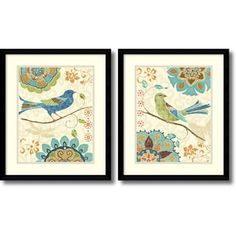 Shop for Framed Art Print 'Eastern Tales Birds - set of 2' by Daphne Brissonnet 16 x 19-inch Each. Get free delivery at Overstock.com - Your Online Art Gallery Store! Get 5% in rewards with Club O! - 16436786