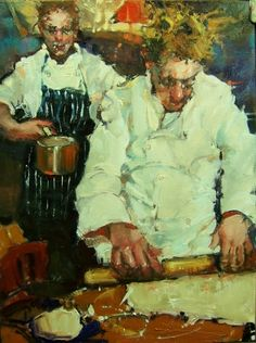 Chef Drinking Christopher M Art Painting