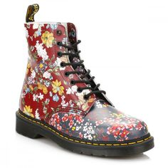 Dr Martens Womens Floral Mix Pascal Boots ($150) ❤ liked on Polyvore featuring shoes, boots, floral lace up boots, floral-print shoes, flower print shoes, leather lace up boots and long leather boots