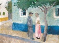Találkozás (Meeting) Tempera on Canvas 60,5 x 80,5 cm