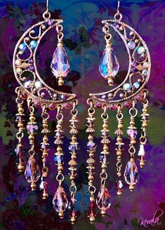 Sparkly Pink Crystal Gypsy Moon Chandelier Earrings by kerala
