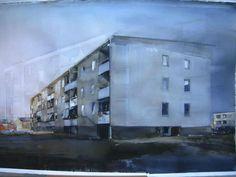 watercolour by Lars Lerin (b. 1954, Sweden) 150 x 100 cm