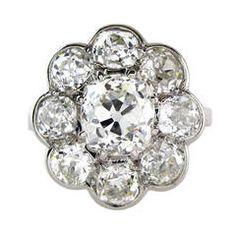 3.55 Carat Cushion Cut Diamond Platinum Cluster Ring