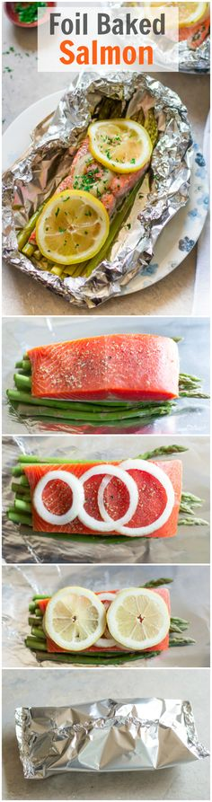 Foil Baked Salmon - You infuse your salmon with lemon, onion, dried oregano and . - Foil Baked Salmon – You infuse your salmon with lemon, onion, dried oregano and asparagus for a r - Seafood Dishes, Seafood Recipes, Paleo Recipes, Cooking Recipes, Seafood Bake, Fat Free Recipes, Pescatarian Recipes, Healthy Recipes For Weight Loss, Healthy Dinners