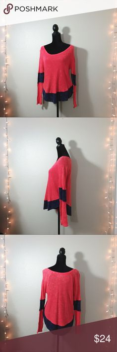 🆕 FREE PEOPLE Distressed Boho Waffle Knit Comfy and cozy free people distressed Knit in a bright orange with navy and cream details. Excellent condition. Flattering draped shape. From a smoke and pet free home: Free People Tops Tees - Long Sleeve