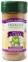 Frontier Natural Products Ethnic Seasoning Balti Curry Organic - 1.8 oz. Flavor Inspired From Pakistan. USDA Organic & Kosher. Balti curries are traditionally cooked and served in a small Indian wok. They are eaten with the fingers, using naan - a flat, leavened Indian bread - to scoop the dish. Suggested Use: Make a paste with 2 Tbsp water and 2 Tbsp seasoning to marinate 1 lb meat. http://www.vitacost.com/frontier-natural-products-ethnic-seasoning-balti-curry-organic-1-8-oz
