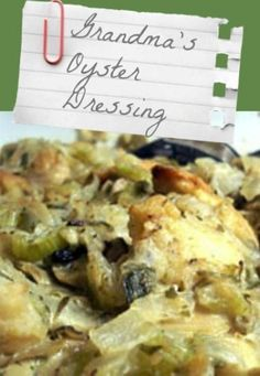 Grandma's Oyster Dressing recipe by Chef Josh Butler of the Florida Governor's Mansion Restaurant in Tallahassee, TN.