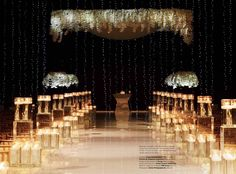 Modern Wedding Ceremony with Raised Runway Aisle, Floating Candles, White Orchids and Floating Chuppah  (As Seen in Grace Ormonde Wedding Style) Venue: Trump National Doral Miami