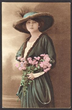 Young Edwardian Lady with Fur lined Hat and Pink Flowers 1900s