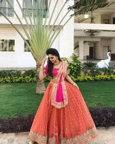 Rate the Look 👉 1... 🔟. Krystle D'Souza looks in a beautiful Pink & Orange Lehenga. Follow 👉 @InstantBollywood for more updates . .… Indian Bridal Outfits, Indian Bridal Lehenga, Indian Designer Outfits, Indian Dresses, Designer Dresses, Designer Wear, Designer Lehanga, Half Saree Lehenga, Lehenga Style