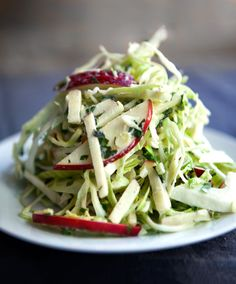 Apple Slaw | A must-have on a Southern Thanksgiving table, we lighten up this classic by swapping half mayo with greek yogurt, and added a touch of the natural sweetness of the fall -- apple.