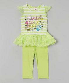 Another great find on #zulily! Green 'Girls' Tutu Tunic  Leggings - Infant, Toddler  Girls #zulilyfinds