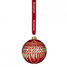 Waterford Lismore Diamond Red Ball Holiday Heirloom Ornament