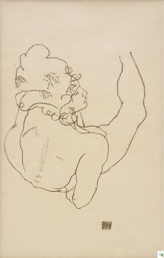 Egon Schiele, Reclining Nude Leaning on Her Right Arm, back view, 1917  Black crayon on paper, 444 x 283 mm