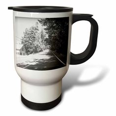 #coffee #mug #drivesafe #commuter #travel #work #cup #drink #gifts #art Amazon.com: DYLAN SEIBOLD - PHOTOGRAPHY - BLACK AND WHITE ROAD - 14oz Stainless Steel Travel Mug (tm_244553_1): Kitchen & Dining