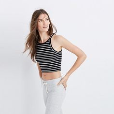 """Inspired by the Japanese concept of """"one-mile wear,"""" Mile(s) by Madewell is a collection for all the stuff you do close to home—the post-workout hangs, the neighborhood coffee strolls, the couch marathons. Made of soft fabrics in sleek shapes, it's your new weekend-starts-now uniform. Take this sexy-meets-minimalist striped crop top—it pairs perfectly with high-rise anything. <ul><li>Fitted.</li><li>Cotton.</li><li>Machine wash.<&..."""