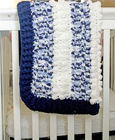 Easy Blue Clouds Baby Blanket – Free Pattern - A More Crafty Life Tunisian Baby Blanket, Baby Boy Crochet Blanket, Bernat Baby Blanket, Blanket Yarn, Soft Baby Blankets, Blue Blanket, Crochet Blanket Patterns, Crochet Baby, Crochet Blankets