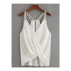 White Keyhole Racerback Draped Strappy Cami Top (€19) ❤ liked on Polyvore featuring tops, white, racer back tank, racerback tank, white tank top, spaghetti strap tank tops and cami tank tops