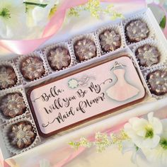 Will You Be My Maid of Honor Chocolates. Personalized Maid of Honor Proposal. A unique and beautiful way to ask your best friend to be at your side. Colorful edible design, personalized with your maid of honor's name, even has sparkling sugar bling. By DiamondChocolates