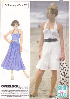 Womens Sewing Pattern Halter Top Dress by Sutlerssundries on Etsy, $5.99