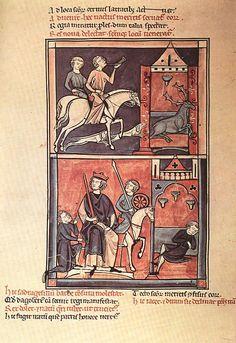 Hanging oil lamps, c. 1250. La vie de St Denis
