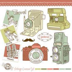 15 Hand Drawn Vintage Camera and digital clip art door GraphicMarket