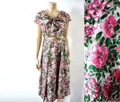 50s floral silk dress by bOmode on Etsy, $115.00