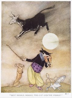 Arthur Rackham Mother Goose The Cow Jumped Over the Moon painting for sale, this painting is available as handmade reproduction. Shop for Arthur Rackham Mother Goose The Cow Jumped Over the Moon painting and frame at a discount of off. Hey Diddle Diddle, Arthur Rackham, Old Nursery Rhymes, Nursery Art, Moon Nursery, Nursery Wallpaper, Antique Nursery, Vintage Nursery, Fairytale Art