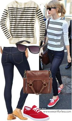 Cool and casual: Taylor Swift looked cute in a pair of denim jeans and a black and white striped sweater