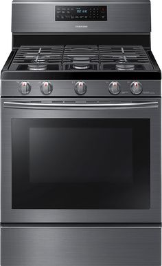 Samsung - 5.8 Cu. Ft. Self-Cleaning Freestanding Gas Convection Range - Black Stainless Steel