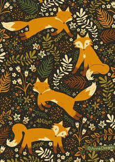 Cellphone Wallpapers, Ohh Deer, Fox Illustration, Fox Art, Fall Wallpaper, Iphone Wallpaper, Art Graphique, Surface Pattern Design, Pattern Designs