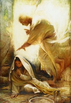 """by-grace-of-god:And the angel said to her, """"Do not be afraid, Mary, for you have found favor with God. And behold, you will conceive in your womb and bear a son, and you shall call his name Jesus. He will be great, and will be called the Son of the Most High; and the Lord God will give to him the throne of his father David, and he will reign over the house of Jacob for ever; and of his kingdom there will be no end."""" Luke 1:30-33Painting: 'Blessed Art Thou Among Women' by Walter Rane"""