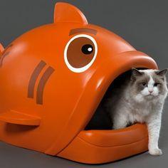 Découvrez la litière pour chat en forme de poisson qui lui permettra de faire ses besoins dans un lieu ultra design et rigolo !