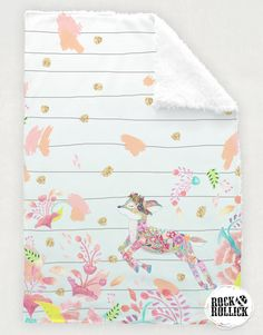 Baby girl crib comforter by Rock & Rollick. Handmade, exclusive design, limited quantities. Our Oh Deer Bedding Crib Comforter features a whimsical deer embellished with floral designs, leaping through a field of wildflowers. Part of our 'Summer Meadow' Collection.