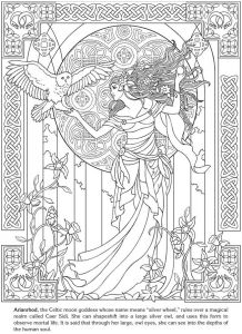 Arianrhod Celtic Moon Goddess Drawing With Art Nouveau Style