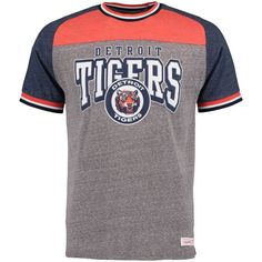 Detroit Tigers Mitchell & Ness No-Hitter Vintage Tri-Blend T-Shirt - Gray