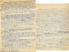 manuscrits autographes d'Aragon  www.artexperiencenyc.com