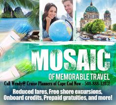 Mosaic of Travel Vacations. Contact us today for these limited time specials! Travel Deals, Us Travel, Cruise Specials, Cruise Planners, Vacation Trips, Vacations, Shore Excursions, Peace Of Mind, Traveling By Yourself