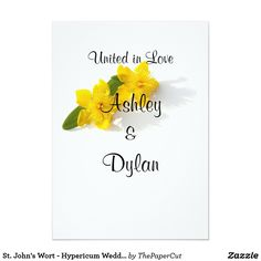 St. John's Wort - Hypericum Wedding Card - $2.43 - St. John's Wort - Hypericum Wedding Card - by #RGebbiePhoto @ #zazzle - #Hypericum #Yellow #Flower - Beautiful Wedding invitation, ready to customize to your special event! St. John's Wort flower blossoms on a white background. Sharp vivid yellow and green theme.